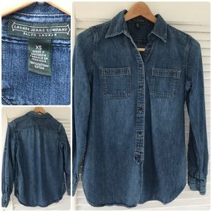 Ralph Lauren Company blue denim shirt blouse Sz XS